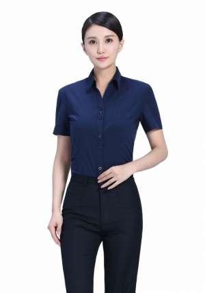 藏蓝V领短袖衬衫