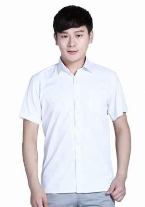 全棉白色短袖衬衫